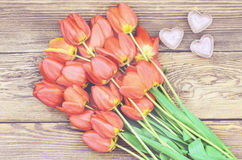 Tulips and a heart for a loved one Royalty Free Stock Photos