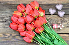 Tulips and a heart for a loved one Stock Image