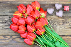 Tulips and a heart for a loved one Royalty Free Stock Images