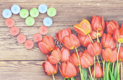 Tulips and a heart for a loved one Stock Images