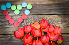 Tulips and a heart for a loved one Stock Photography