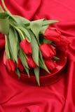 Tulips and Heart Shaped Box Royalty Free Stock Photos
