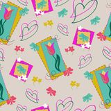 Tulips and hearts seamless pattern with primroses and bows. Floral spring background in pale tender colors, flat style . vector illustration