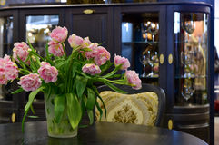Tulips and home decore interior Royalty Free Stock Image
