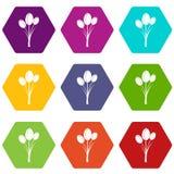 Tulips icon set color hexahedron Stock Photos