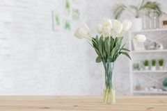 Free Tulips In A Vase On A Wooden Table. Scandinavian Interior Stock Image - 143602891