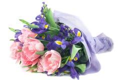 Tulips and iris Stock Photo