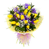Tulips isolated flower arrangement bouquet. Yellow tulips flower arrangement bouquet. For mother's day, valentine's day or a present for a woman. Isolated on Royalty Free Stock Photography