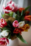 Tulips in a jar. On a table Stock Photos