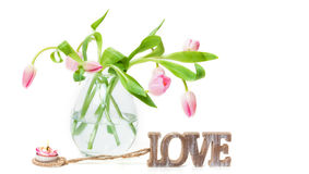 Tulips, Love, Candle Royalty Free Stock Images