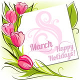 Tulips March greeting card. 8 March greeting card with decorative tulips vector illustration