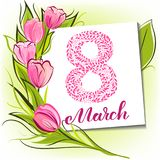 Tulips March greeting card. 8 March greeting card with decorative tulips and modern lettering Stock Photography