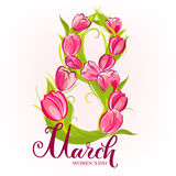 Tulips March greeting card Royalty Free Stock Photography