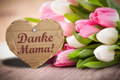 Tulips with message saying `Thank you mama!` Stock Images
