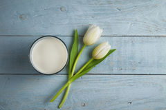 Tulips and milk Royalty Free Stock Photography