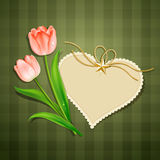 Tulips and modern card heart paper Stock Image