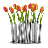 Tulips in modern metallic vase isolated on white Stock Photo