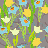 Tulips and narcissus Stock Photo