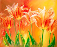 Tulips, oil painting on canvas Royalty Free Stock Photos