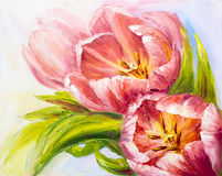Tulips, oil painting on canvas Royalty Free Stock Photo
