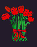 Tulips. Вouquet of red tulips on a black background Stock Photos