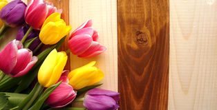 Tulips over wooden table Royalty Free Stock Photos