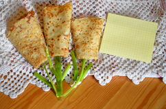 Tulips with pancakes royalty free stock photo