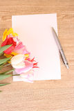 Tulips and paper Royalty Free Stock Photo