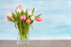 Tulips on pastel blue watercolor background