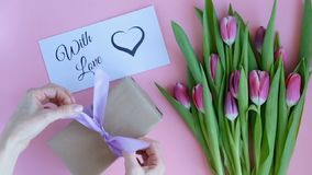 Tulips on pink background. Woman putting greeting card with the text WITH LOVE and a gift. Directly above view stock video footage