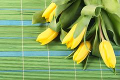 Tulips on placemats Royalty Free Stock Images