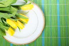 Tulips on plate Royalty Free Stock Photography