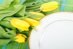 Tulips on plate Royalty Free Stock Photos