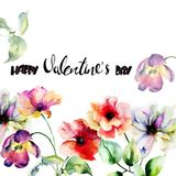 Tulips and Poppy flowers with title Happy Valentine's day. Tulips and Poppy flowers with title Happy Valentine's day, watercolor illustration Royalty Free Stock Photos