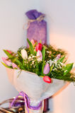 Tulips and present Stock Photography