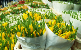 Tulips Sale. Tulip bouquet sale in Amsterdam florist market stock photos