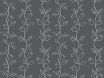 Tulips seamless background grey. Modern red sun flowers seamless background  in two colors Stock Photo