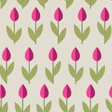 Tulips Seamless Background. Seamless pattern with small cute flowers and leaves. Soft colors flat style ornament. Useful for web or textile background, wrapping royalty free illustration