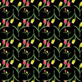 Tulips seamless pattern2-01. Beautiful spring seamless pattern with Yellow, red tulips.The flowers on a black background.Vector illustration.Print for gift Stock Photos