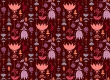 Tulips seamless pattern. Cute doodle floral seamless pattern Stock Images