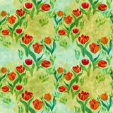 Tulips.Seamless pattern. Flowers, leaves, stems and buds . Use p. Rinted materials, signs, items, websites, maps, posters, postcards, packaging Royalty Free Stock Photos