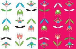 Tulips seamless pattern set simple Royalty Free Stock Photos