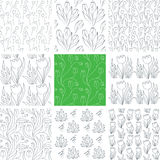 Tulips Seamless Patterns Set. Set of 9 hand drawn floral seamless patterns with tulips. Can be used for wallpapers, backgrounds, textiles etc. Optimized for easy Royalty Free Stock Image