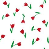 Tulips. Seamless vector pattern. Hand drawing texture vector illustration