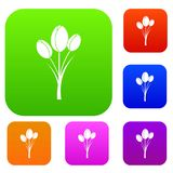 Tulips set color collection. Tulips set icon color in flat style isolated on white. Collection sings vector illustration Royalty Free Stock Photography