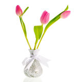 Tulips in silver vase Royalty Free Stock Photo