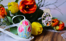Tulips spring eastereggs flowers Stock Photography
