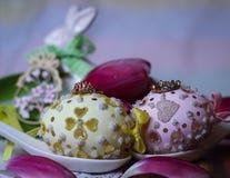 Tulips spring eastereggs flowers princess crown tiara fairytale wonderland dream Royalty Free Stock Image
