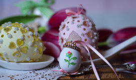Tulips spring eastereggs flowers princess crown tiara fairytale wonderland dream rose Stock Image