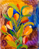 Tulips in springtime painting Stock Images